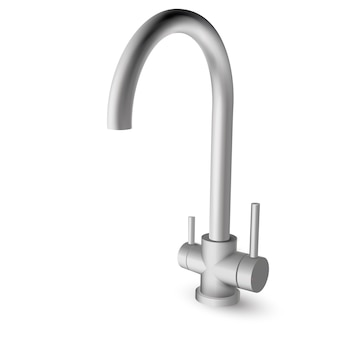 Steel kitchen sink pull down faucet with two handles for hot, cold and filtered drinking water - illustration