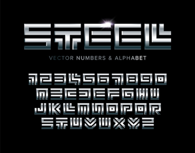 Steel letters and numbers set. polished square maze style latin alphabet.