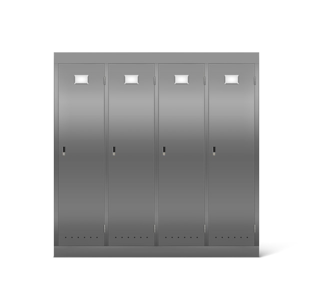 学校の廊下や更衣室のスチールロッカー