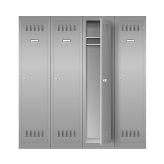 Steel lockers, set of realistic metal cabinets