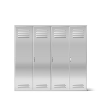 Steel lockers, vector high school or gym cabinets