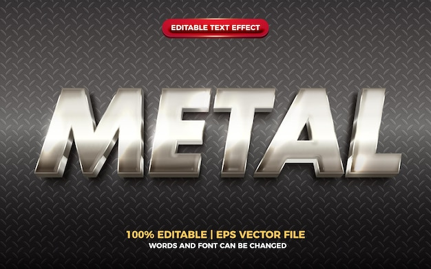 Steel metal 3d editable text silver metal modern 3d editable text effecteffect