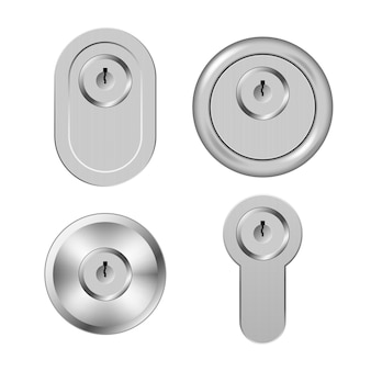 Steel metal secure keyholes isolated on white background