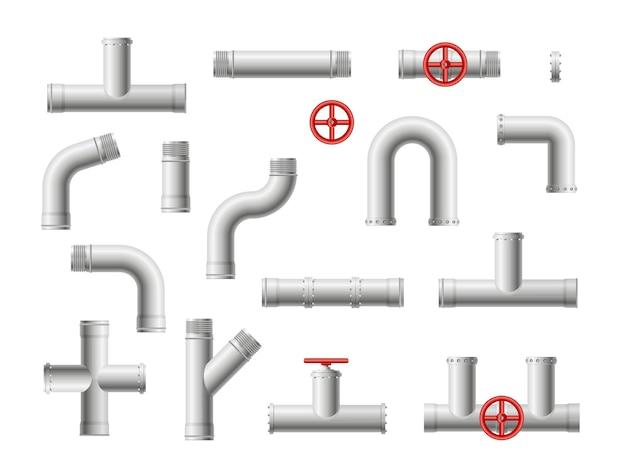 강철 금속 물, 석유, 가스 파이프 라인, 파이프 하수. 둥근 밸브 및 볼트가있는 파이프 연결.