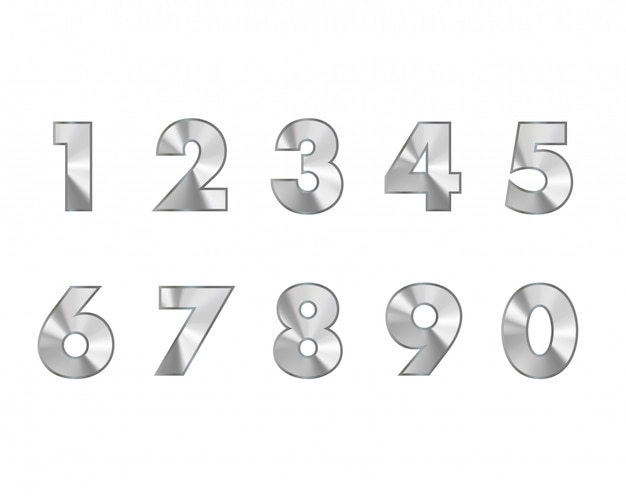 Steel numbers metal text