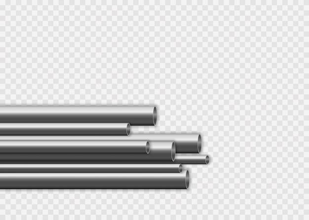 흰색 배경에 고립 된 다양 한 직경의 철강 또는 알루미늄 파이프. 광택있는 3d 강관 설계. 산업, 금속 파이프 라인 제조 개념입니다.