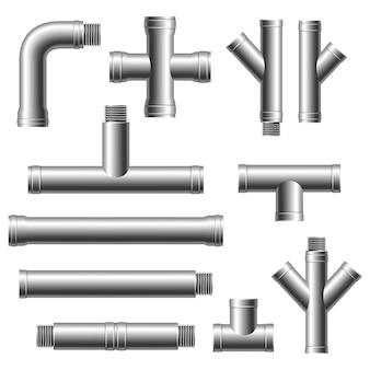 Фитинги стальные. сантехника, водопровод, канализация. различные типы коллекции водопровода. промышленный газовый клапан.