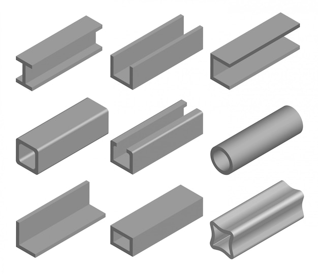강관, 금속 프로파일 및 빔. 금속 산업, 철 또는 강철 간판. 건축 자재 세트. 그림 흰색 배경에 고립입니다.