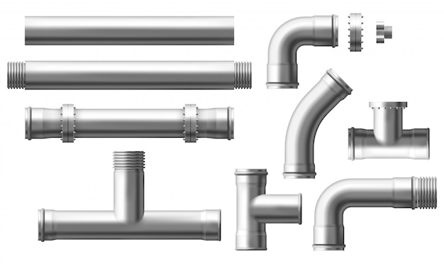 Steel pipes bolted connectors realistic vector set