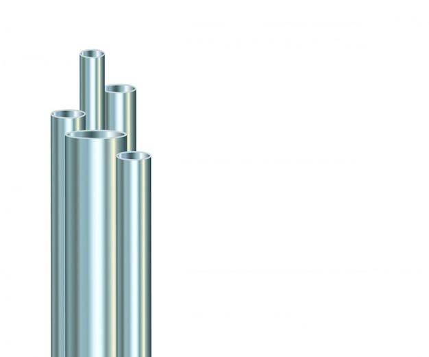 Стальные трубы на белом фоне. промышленная металлическая труба.