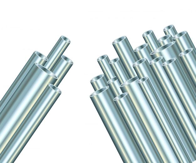 白い背景の上の鋼管。工業メタルチューブ。