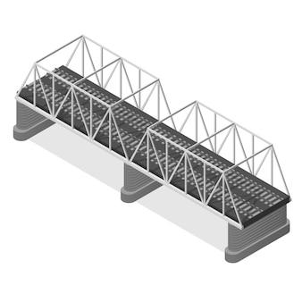 Steel railway bridge in isometric view