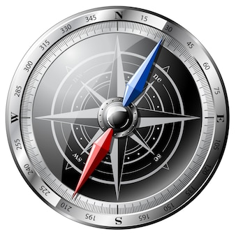 Steel realistic compass illustration