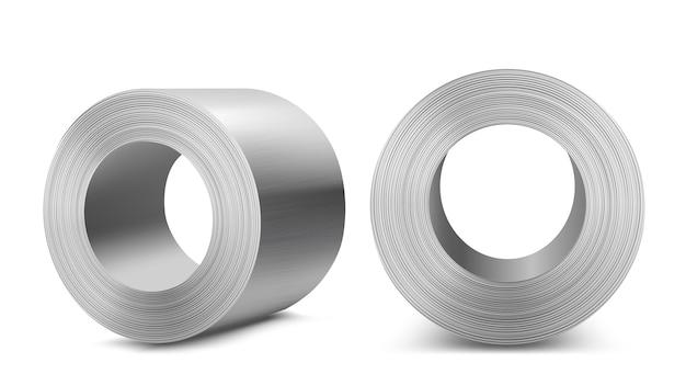 Стальные рулоны, промышленное производство, производство тяжелой металлургии, блестящие металлические цилиндры из нержавеющей стали или алюминия, реалистичные 3d векторные иллюстрации
