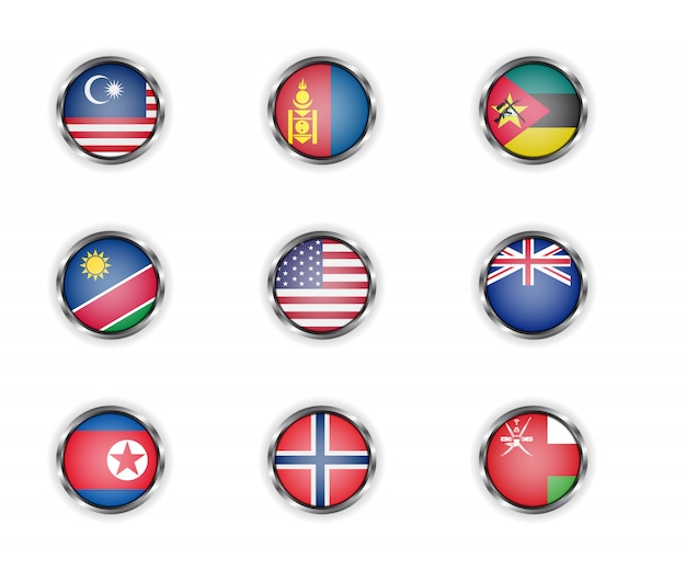 Steel round buttons with malaysia, mongolia, mozambique, namibia, usa, new zealand, north korea, norway and oman country flags