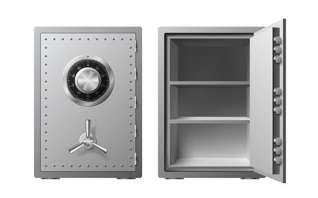 Steel safe with combination lock isolated. armored box. reliable data protection. protection of personal information. Premium Vector