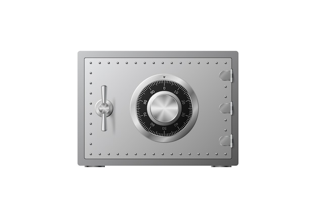 Steel safe with combination lock  on a white background. armored box. reliable data protection. protection of personal information.  illustration