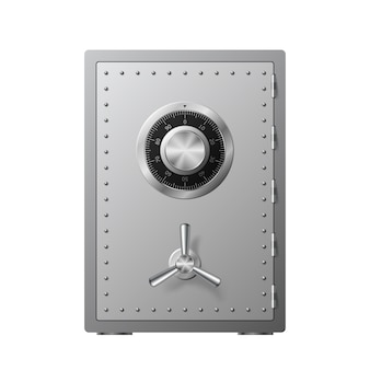 Steel safe with combination lock  on a white background. armored box. reliable data protection. protection of personal information.  illustration Premium Vector