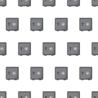 白い背景の上の鋼鉄金庫のシームレスなパターン。セキュリティ金属金庫のテーマベクトル図