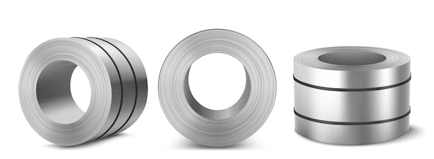 Steel sheet roll, stainless construction tape coil isolated on white