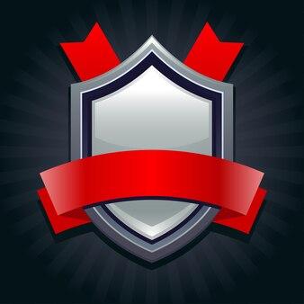 あなたのメッセージのための赤いリボンが付いている鋼鉄盾