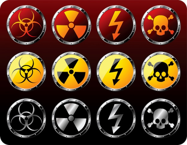 Steel shields with warning symbols set illustration