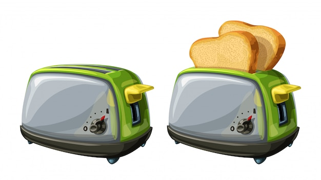 Steel toasters on white background