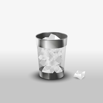 Steel trash can with paper garbage realistic vector icon