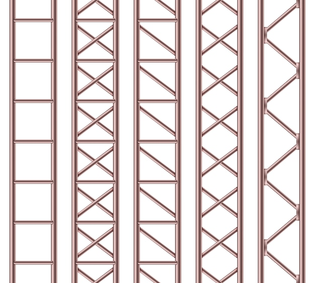 Steel truss girder, chrome pipes, metal.