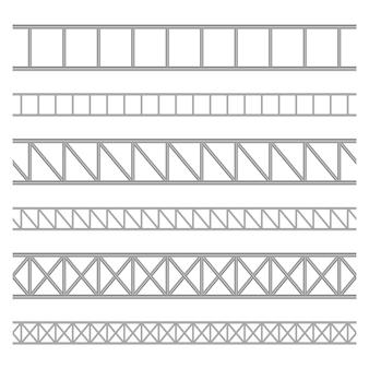 白い背景の上の鋼トラス桁図