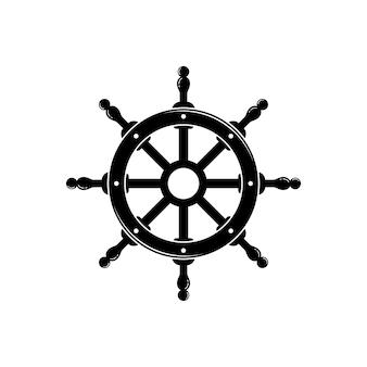 Steering wheel captain boat ship yacht compass transport logo design inspiration