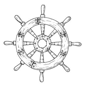 白で隔離された船からのステアリングホイール