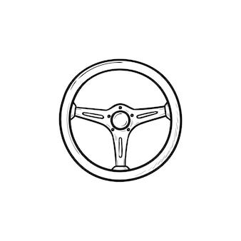 스티어링 휠 손으로 그린 개요 낙서 아이콘입니다. 자동차 및 자동차, 경주, 운전자 및 교통 개념을 운전하십시오.