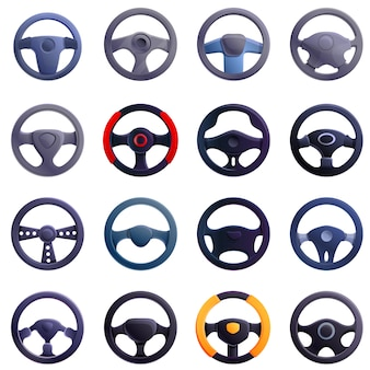 Steering wheel icons set, cartoon style
