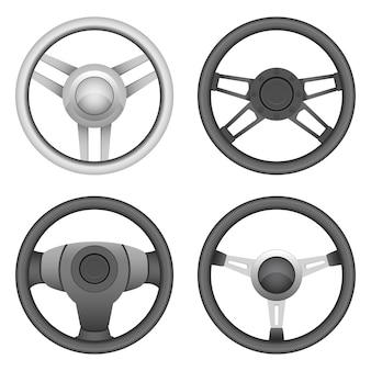 Steering wheel set design illustration isolated on white background