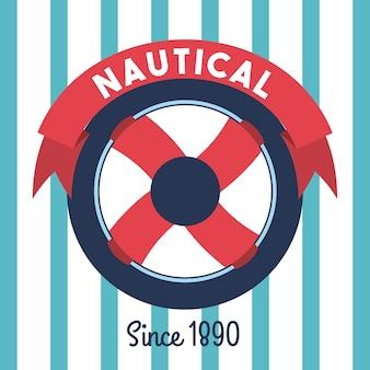 Steering wheel ship nautical emblem stripes background