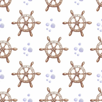 Steering wheel of a ship watercolor seamless vector pattern