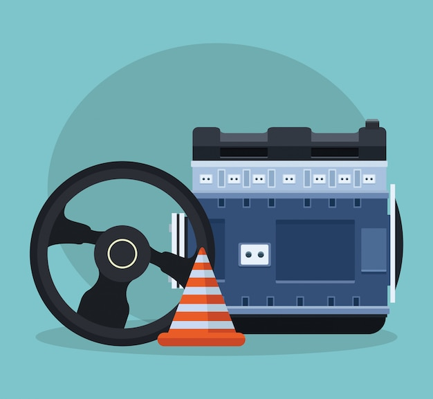 Steering wheel with car engine and traffic cone