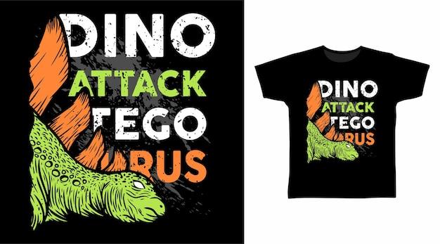 스테고사우루스 디노 공격 타이포그래피 티셔츠 디자인