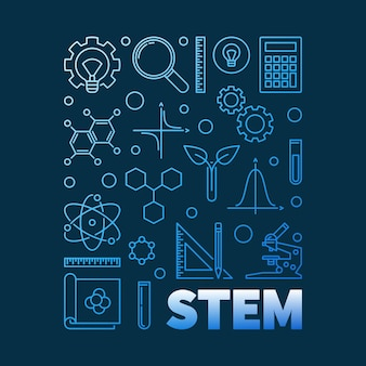 Stem blue modern outline banner - illustration