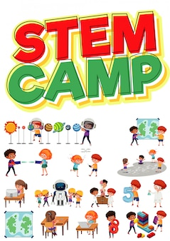 Stem camp logo and set of children with education objects