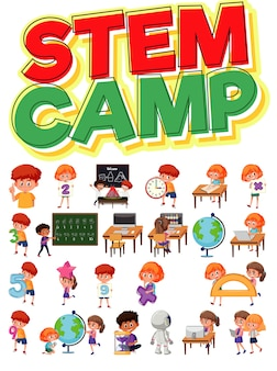 Stem camp logo and set of children