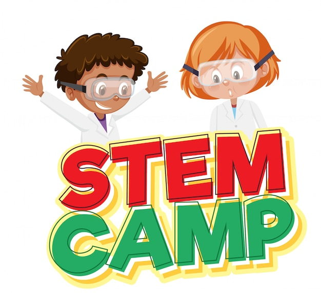 Stem camp logo and two kids wearing scientist costume isolated