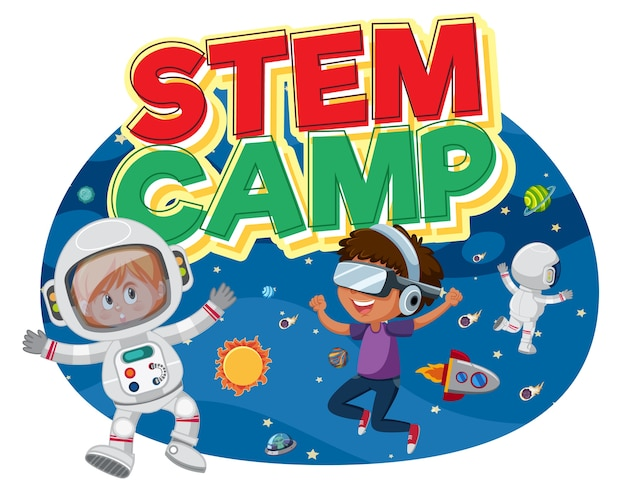 Stem camp logo with kids wearing astronaut in space costume isolated