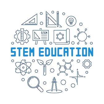 Stem education blue outline round illustration
