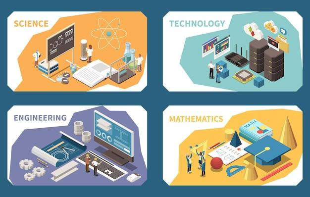 Концепция образования stem изометрические композиции, карты с уроком естествознания, инженерное программное обеспечение, математика, геометрические фигуры