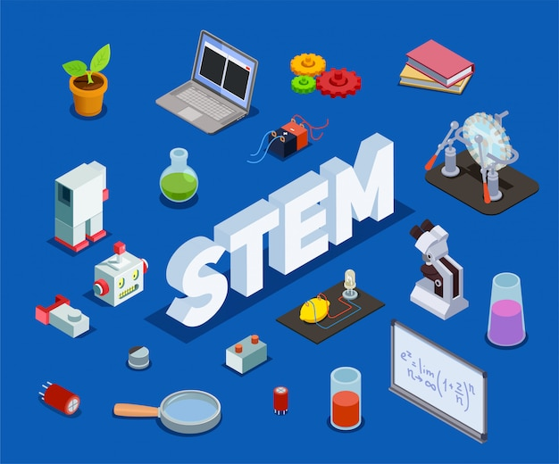 Stem education isometric composition with cumbersome text and isolated items related to science technology engineering mathematics
