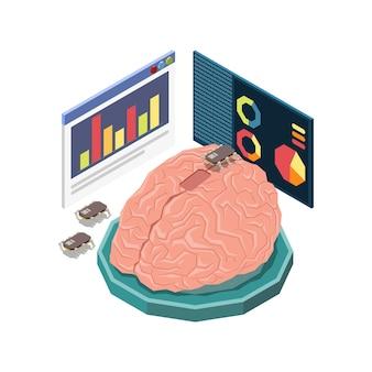 Composizione del concetto isometrico di educazione del gambo con l'immagine del cervello umano con l'illustrazione degli schermi infografici