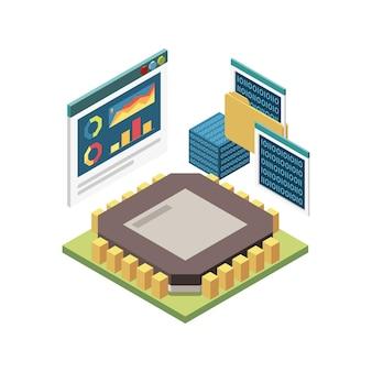 이진 코드 화면 일러스트와 함께 마이크로칩의 이미지와 줄기 교육 아이소메트릭 개념의 구성