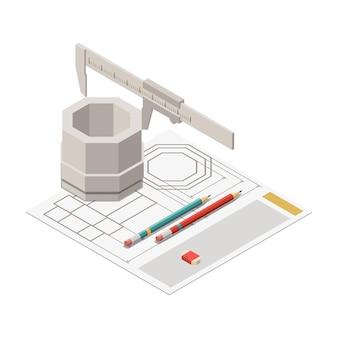 Композиция изометрической концепции образования ствола с изображением винта, измеренным с помощью трамвайной иллюстрации